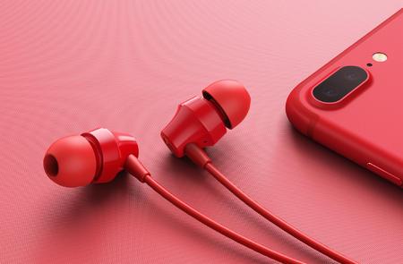 红色耳机渲染图