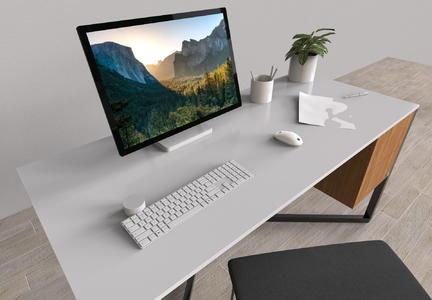电脑桌室内桌面小场景3D渲染