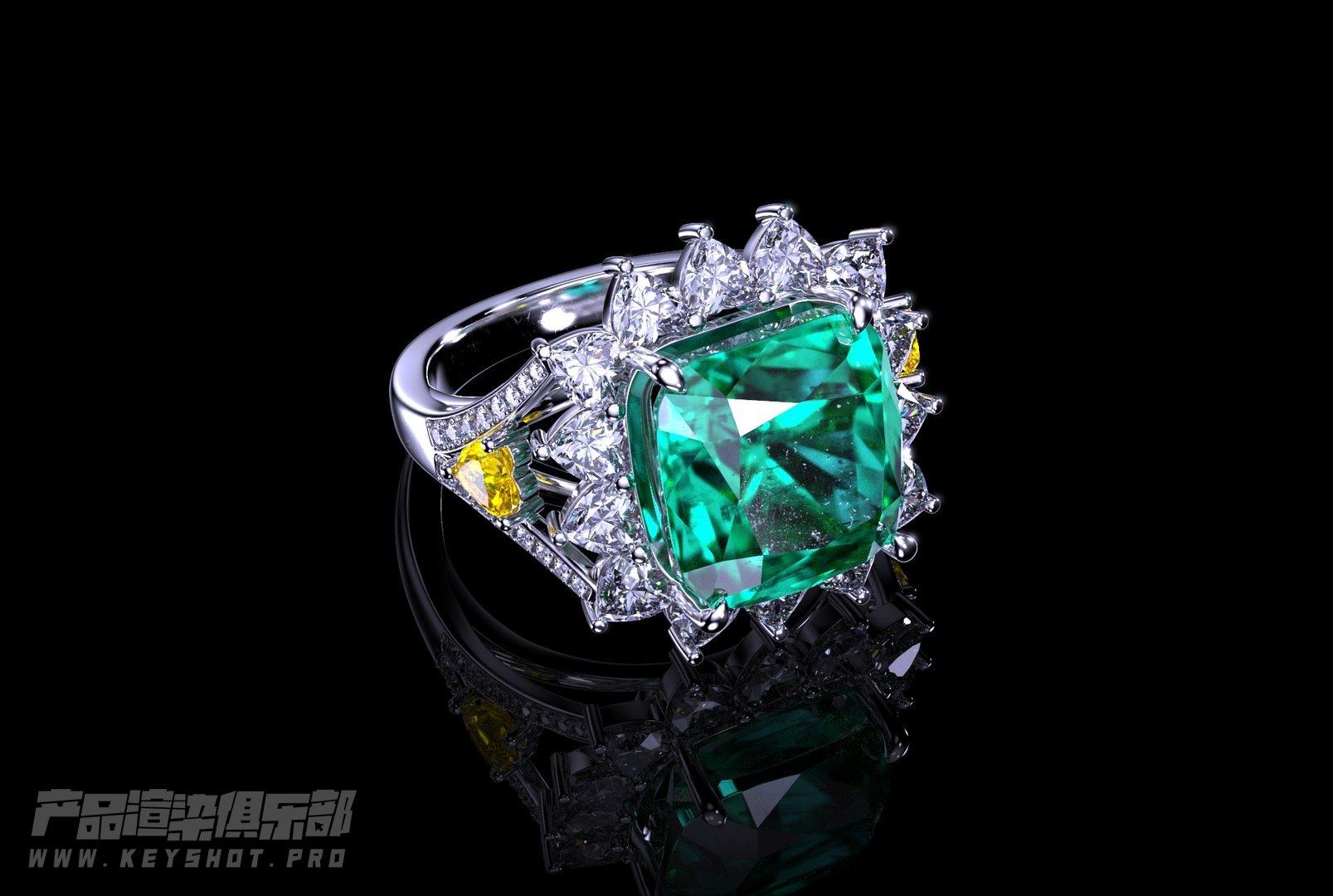 【Keyshot珠宝系列】祖母绿钻石戒指案例展示