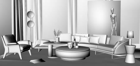 一组现代客厅场景3D模型