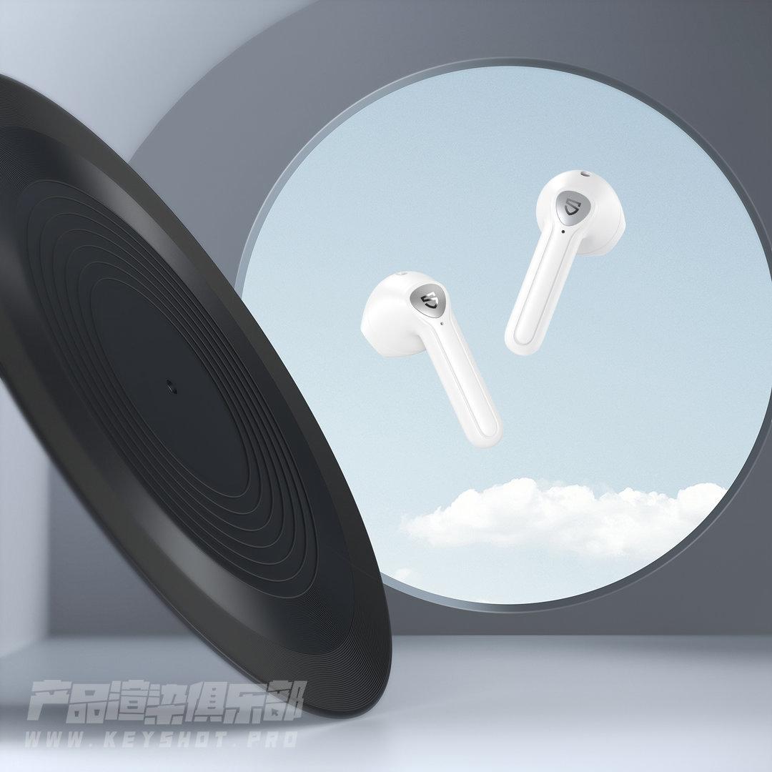 一波蓝牙耳机渲染