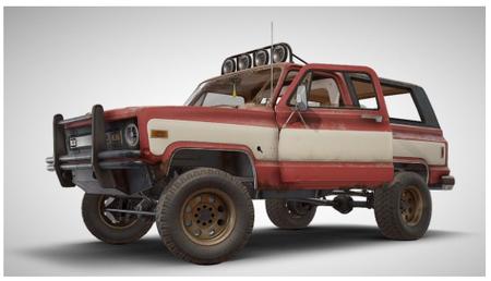 PUBG绝地求生吃鸡沙漠图四人垃圾车3D模型