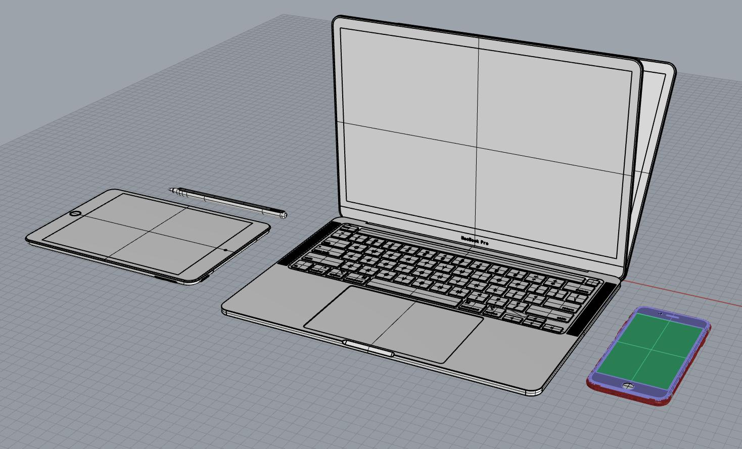 苹果手机,笔记本,ipad模型合辑