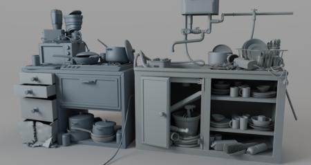 橱柜厨具大集合3D模型