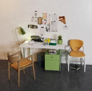 北欧书桌椅子落地灯场景渲染文件