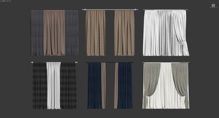 6个窗帘3D模型含贴图