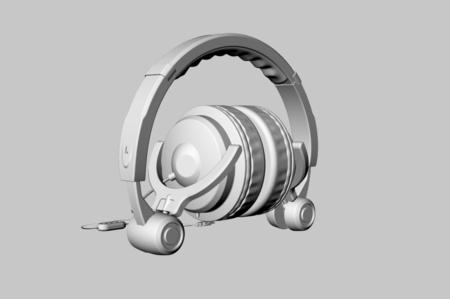 有线头戴耳机3D模型