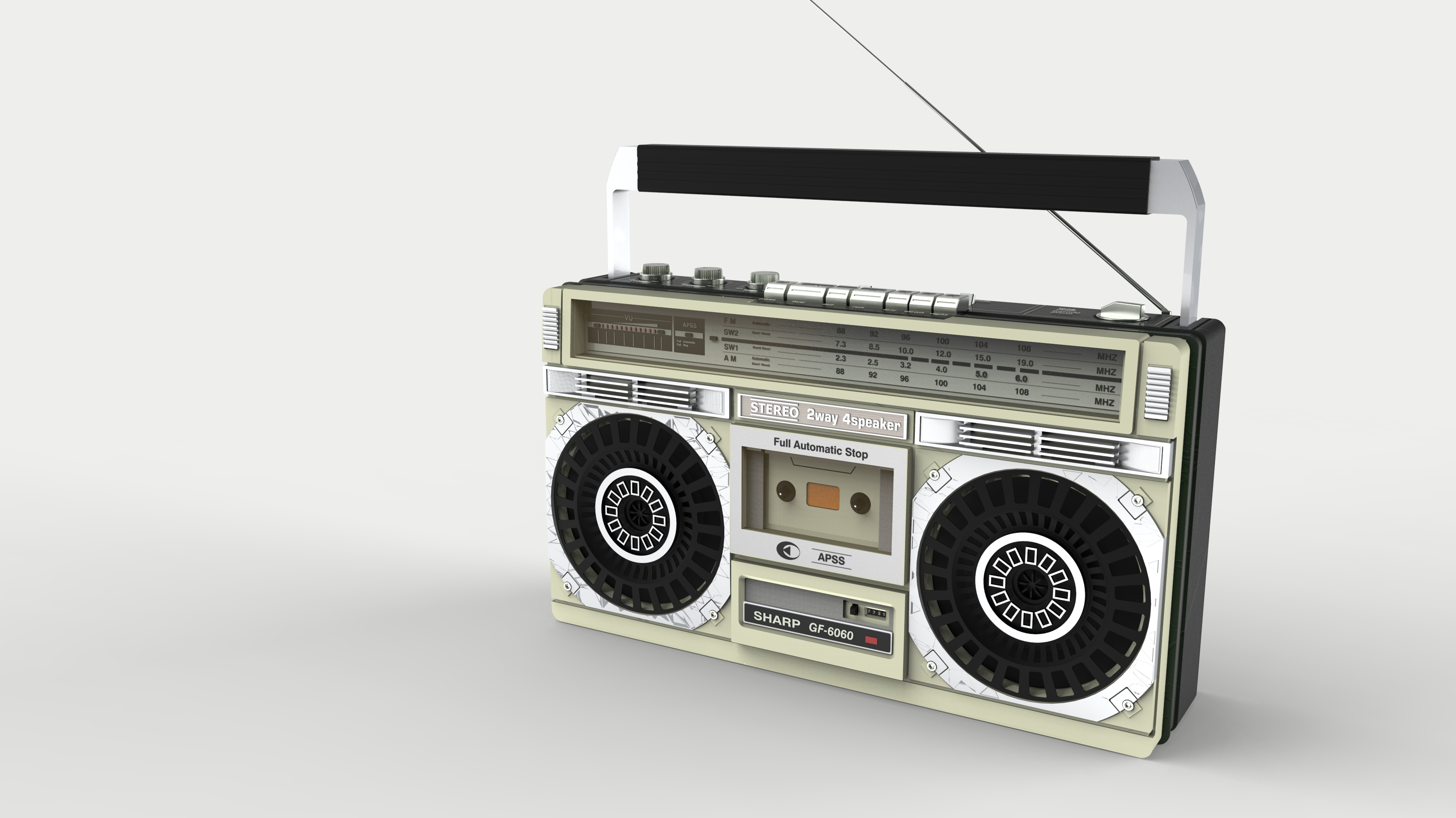 大二时期的建模渲染作业(夏普6060做旧感收音机)