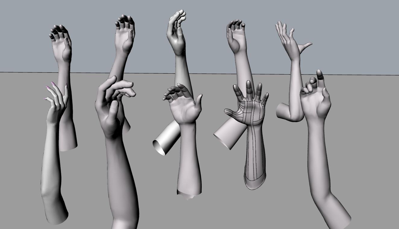 10个手姿势模型,无贴图