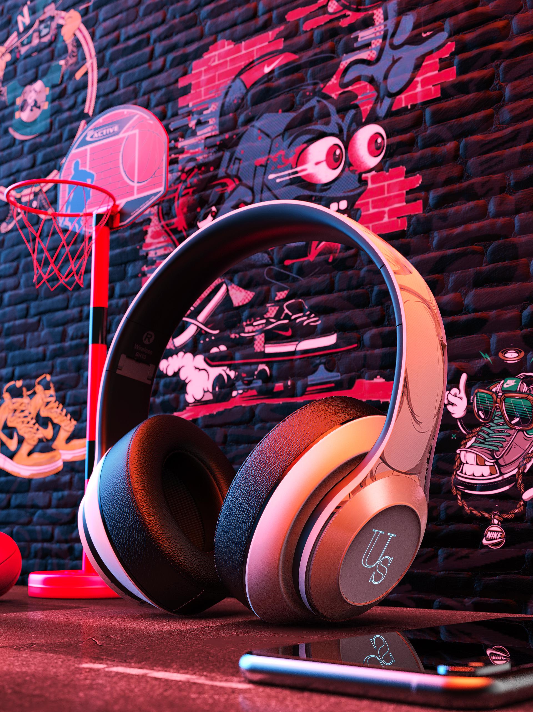耳机渲染,涂完风格