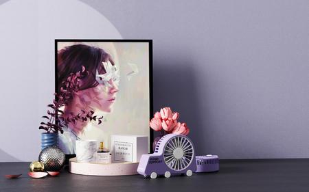桌面摆件装饰品3D场景渲染文件