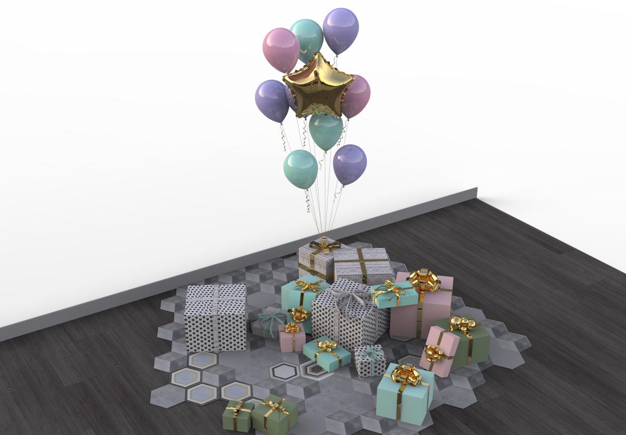 节日活动礼盒气球场景 带keyshot文件