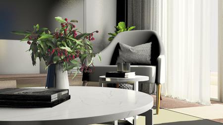 室内沙发组合阳台进光渲染
